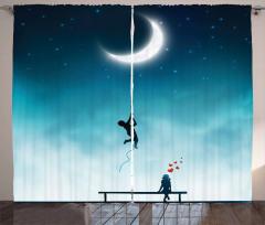 Aşk Temalı Fon Perde Ay Gece Romantik Mavi