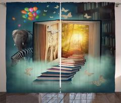 Kitap ve Kelebek Fon Perde Fil Balon