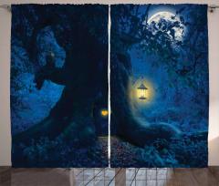 Büyülü Orman Temalı Fon Perde Gece Mavi Ağaç