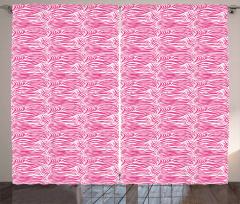 Zebra Desenli Fon Perde Pembe Beyaz Şık