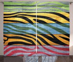 Rengarenk Zebra Baskılı Fon Perde Çizgili