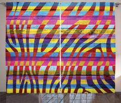 Rengarenk Çizgili Fon Perde Zebra Baskılı
