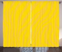 Zebra Baskılı Fon Perde Sarı Çizgili Şık