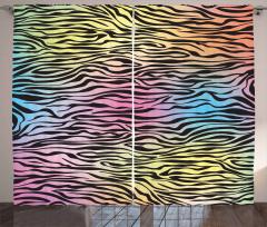 Zebra Desenli Fon Perde Rengarenk Çizgili