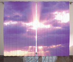 Mor Bulutlar Temalı Fon Perde Gökyüzü Güneş