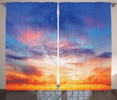 Gökyüzü Temalı Fon Perde Gün Batımı Turuncu