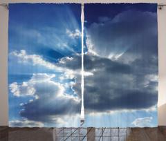 Mavi Gökyüzü Temalı Fon Perde Bulut Güneş