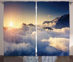 Güneş ve Bulut Temalı Fon Perde Gökyüzü