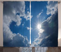Bulutlu Gökyüzü Temalı Fon Perde Mavi Güneş