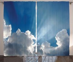 Gökyüzü Temalı Fon Perde Mavi Bulut Güneş