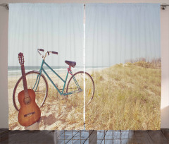 Gitar ve Bisiklet Fon Perde Deniz Yaz