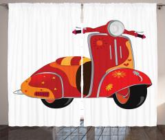 Hippi Temalı Fon Perde Kırmızı Çiçek Motor