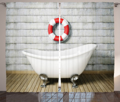 Banyo Temalı Fon Perde Antik Oda Küvet Şık