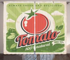 Nostaljik Etiket Temalı Fon Perde Domates