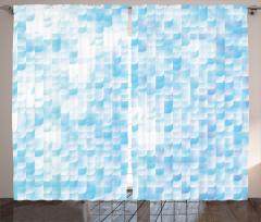 Mozaik Desenli Fon Perde Mavi Beyaz Çeyizlik
