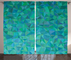 Üçgen Mozaik Desenli Fon Perde Turuncu Yeşil