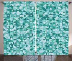Mozaik Desenli Fon Perde Üçgen Yeşil Şık