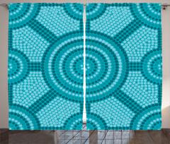 Mavi Mozaik Desenli Fon Perde Yuvarlak Şık