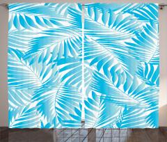 Mavi Yaprak Desenli Fon Perde Şık Tasarım