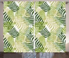 Yaprak Desenli Fon Perde Yeşil Çeyizlik Şık
