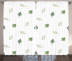 Yeşil Yaprak Desenli Fon Perde Şık Tasarım