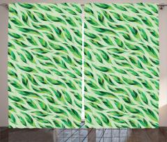 Yeşil Yaprak Desenli Fon Perde Çeyizlik Şık