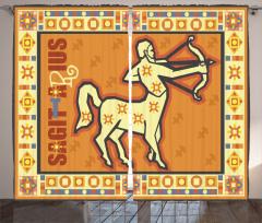 Astroloji Temalı Fon Perde Burç Desenli