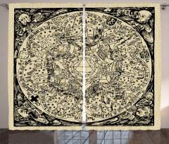Antik Harita Desenli Fon Perde Nostaljik