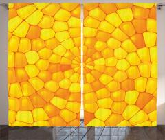 Sarı Mozaik Desenli Fon Perde Kristal Cam