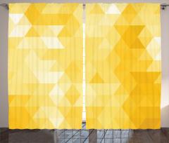 Sarı Üçgenler Desenli Fon Perde Geometrik