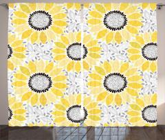 Ayçiçeği Desenli Fon Perde Sarı Şık Tasarım