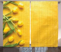 Sarı Laleler Temalı Fon Perde Çeyizlik Şık