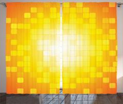 Kare Temalı Fon Perde Sarı Turuncu Geometrik