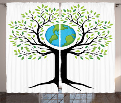 Toprak Ana Temalı Fon Perde Yeşil Ağaç Dünya
