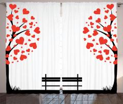 Aşk Ağacı Temalı Fon Perde Kırmızı Çeyizlik