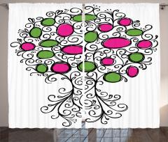 Ağaç Desenli Fon Perde Kırmızı Yeşil Şık