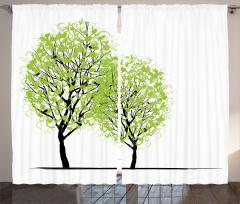 Bahar Temalı Fon Perde Yeşil Ağaç Desenli