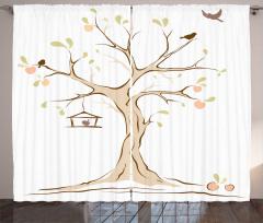 Ağaç ve Kuş Desenli Fon Perde Şık Tasarım