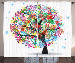 Hayat Ağacı Temalı Fon Perde Rengarenk Şık