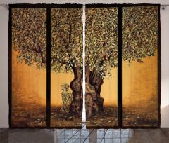 Hayat Ağacı Temalı Fon Perde Kahverengi