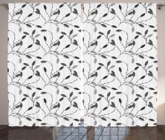 Siyah Yaprak Desenli Fon Perde Şık Tasarım