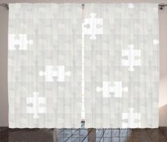 Puzzle Temalı Fon Perde Gri Şık Tasarım
