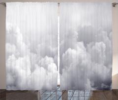 Gökyüzü Temalı Fon Perde Gri Bulutlar Yağmur