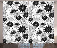 Çiçek Desenli Fon Perde Siyah Beyaz Çeyizlik