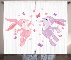 Tavşanlar ve Kelebekler Fon Perde Tavşanlar ve Kelebekler