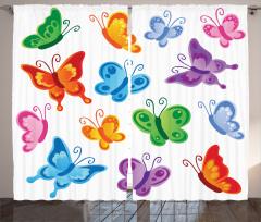 Şık Kelebek Desenli Fon Perde Rengarenk Kelebek Desenli