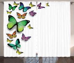Uçan Kelebekler Fon Perde Bahar Çeyizlik