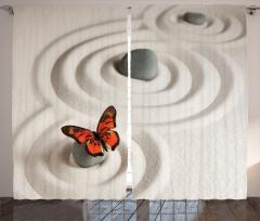 Turuncu Kelebek Desenli Fon Perde Turuncu Kelebek Desenli Şık Tasarım