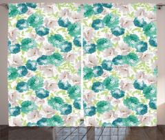 Mavi ve Bej Çiçek Fon Perde Beyaz