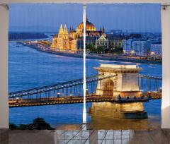 Köprü ve Kilise Temalı Fon Perde Nostaljik